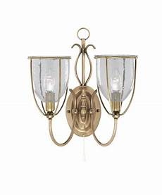 searchlight silhouette double wall light brass