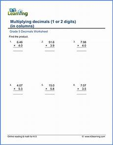 learning decimals worksheets 7201 grade 3 math worksheet decimals multiplying decimals in columns k5 learning
