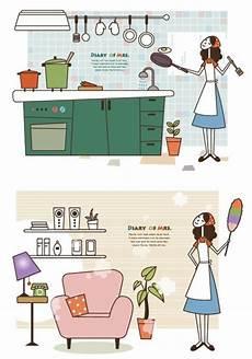 Kartun Ibu Rumah Tangga Masak Ilustrasi Kartun Vektor
