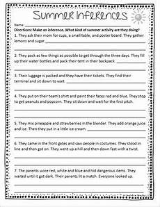 freebie summer inferences worksheet for 3rd 5th grade week 14 inferencing inference