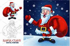 santa claus digital painting illustrations