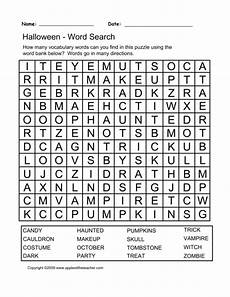 printable halloween word search puzzle spooky halloween worksheets