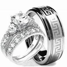 com wedding ring his hers 3 pieces hearts 925 sterling silver tungsten