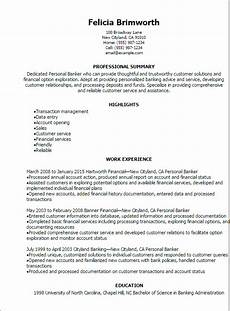 1 personal banker resume templates try them now myperfectresume