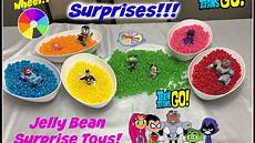teen titans go color surprises jelly bean surprise toys learning colors youtube