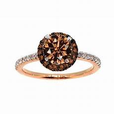1 carat brown diamond floating halo rose gold white brown diamond engagement ring solitaire