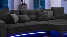 sofa mit led wohnlandschaft laredo sofa schwarz mit led und soundsystem