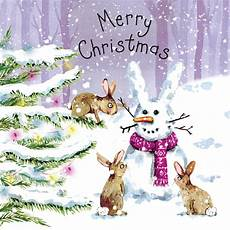 merry christmas rabbit snowman pipedream christmas cards