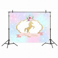 7x5ft Unicorn Flowers Photography Backdrop by Greendecor Polyster 7x5ft Unicorn Happy Birthday Backdrop