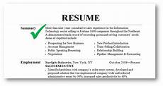 summary resume free excel templates