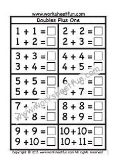 worksheets for doubles plus 1 and doubles minus 1 strategies for fluent addition 1st