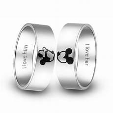 titanium wedding rings kissing mickey and minnie couple