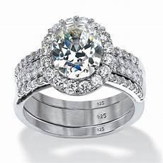 palmbeach jewelry 3 72 tcw oval cut cubic zirconia 3 piece halo bridal ring ebay