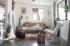 Boho Style Wohnen - wohnzimmer in boho chic look dekoriert home wohnzimmer