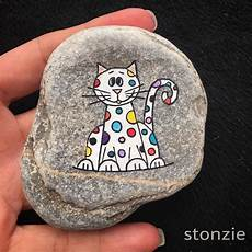 Colorful Whimsical Spotted Painted Rock Cat