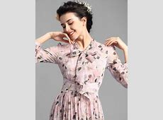 Pleated Vintage Dresses Embellished Collar Long Puff