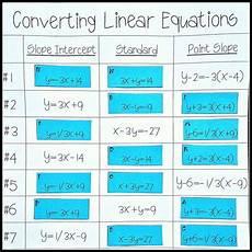 converting linear equations slope intercept standard point slope high school algebra
