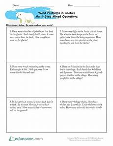 word problems in the arctic multi step mixed operations worksheet education com