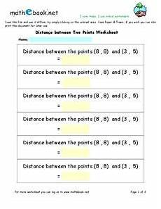distance between two points worksheet for 9th 12th grade