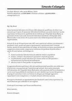lettere di autocandidatura esempio lettera di presentazione assistente infermiera