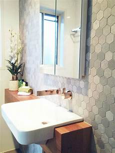 bathroom tile feature ideas reader renovation dated ensuite gets a modern hex makeover style curator