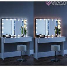 Vicco Table De Maquillage Azur Commode De Coiffeuse Led