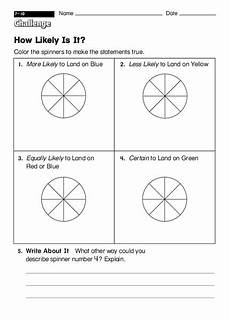 probability worksheets spinners 5883 spinner probability worksheet for 2nd grade lesson planet