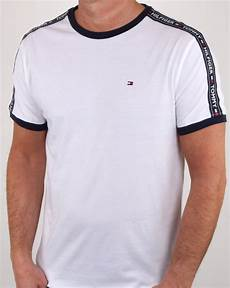 hilfiger taping ringer t shirt white 80s casual