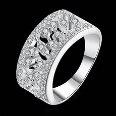 top quality silver plated sted 925 fashion jewelry three line full stone wedding ring