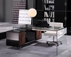 contemporary office desk with thick acrylic cabinet