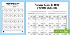 lks2 maths number bonds to 1000 ultimate worksheet year 3 year 4