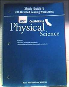 holt physical science textbook worksheets 13118 holt science technology california study guide b with directed reading worksheets grade 8