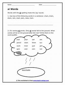 worksheets phonics ai double vowel ai words