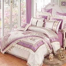 high quality silk slippery 11pcs bedding bedspread linens embroidered silk cotton fabric king