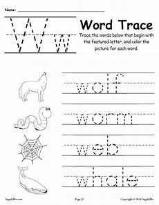 letter w worksheets for pre k 23711 letter w words free alphabet tracing worksheet supplyme