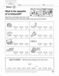 money riddle worksheets 2303 estimating prices money math riddles printable number puzzles and skills sheets