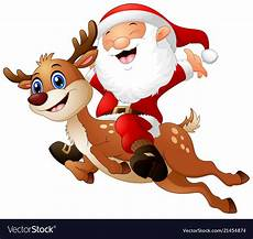 happy santa claus a reindeer royalty free vector