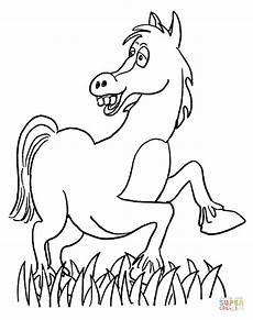 ausmalbild lustiges pferd auf der wiese ausmalbilder