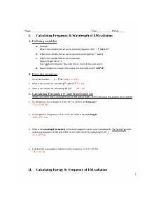 energyfrequencywavelength 2010 worksheet answer key name