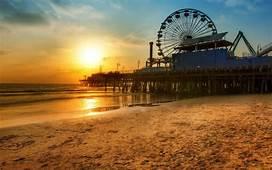 Beach Pier Wheel Ferris Sunset Santa Monica Los Angeles HD