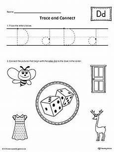 identifying letter d worksheets 24229 trace letter d and connect pictures worksheet letter d worksheet letter d grade sight