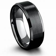 8mm black titanium wedding ring with beveled edges