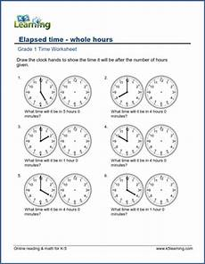 free printable worksheets for grade 1 telling time 3567 elapsed time worksheets what time will it be in x hours k5 learning