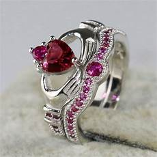 claddagh ring white gold filled heart zircon wedding