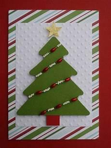 weihnachtskarten basteln tannenbaum perlen ketten idee rot