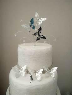 mini silver butterfly wedding cake topper 3 butterfly