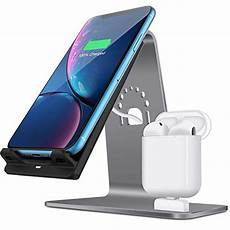2 in 1 aluminum airpods charging station qi fast wireless