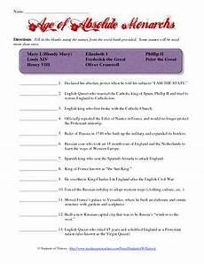 absolute monarchs matching worksheet