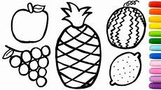 fruits coloring pages how to draw and paint sweet fruits art colours for kids youtube