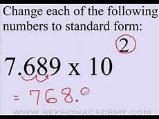 scientific notation to standard form youtube